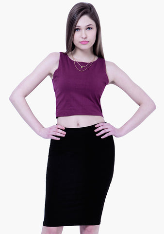 BASICS Jersey Pencil Skirt Mini Style - Black - VS FASHIONS