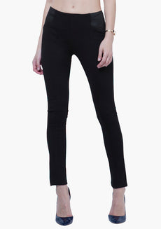 Mid-Rise Skinny Treggings - Black