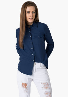 FABALLEY Dark Blue Denim Shirt