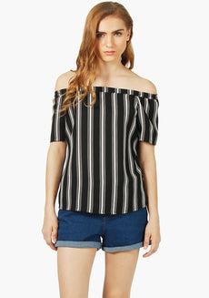 FABALLEY Stripe Bardot Off Shoulder Top- Black White Stripes