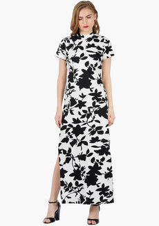 FABALLEY High-Neck Floral Maxi Dress