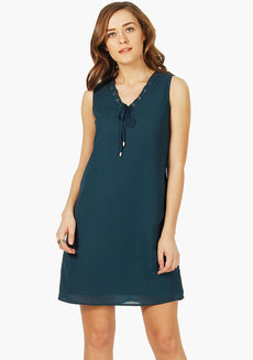 FABALLEY Lace-Up Shift Dress - Teal