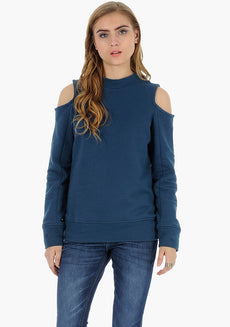 FABALLEY Cold Shoulder Sweatshirt - Blue