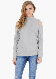 FABALLEY Cold Shoulder Sweatshirt - Grey