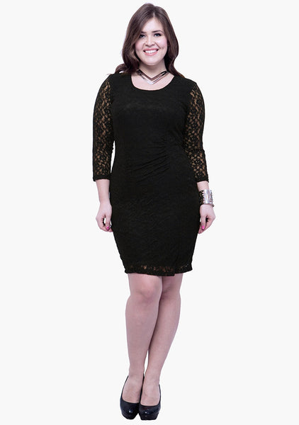 CURVE Lace Love Bodycon Dress - Black