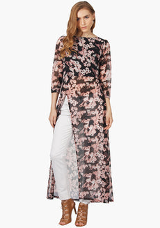 FABALLEY Overlaping Flare Maxi Top-Black Ggt Print