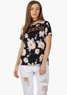 FABALLEY Lace Insert Top-Blush Floral Summercool Ggt