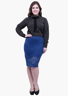CURVE Lace Bloom Pencil Skirt - Blue