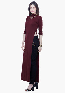 FABALLEY Turtle Neck Maxi Top - Oxblood