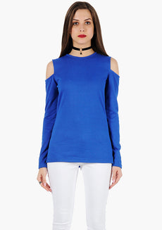FABALLEY Cold Shoulder Sweater - Blue