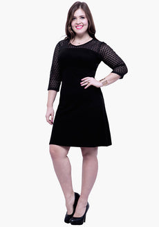 CURVE Lace Mire Skater Dress - Black