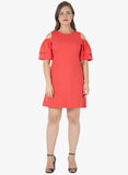 CURVE Ruffled Cold Shoulder Shift Dress - Coral - VS FASHIONS