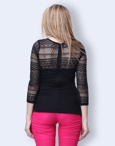 Lace Smitten Top - Black