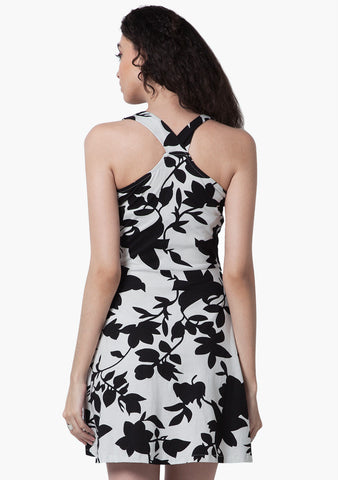 FABALLEY Monochrome Floral Skater Dress - VS FASHIONS