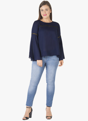 CURVE Lace Insert Bell Sleeve Blouse - Navy - VS FASHIONS