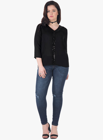 CURVE Sequin Strip Blouse - Black