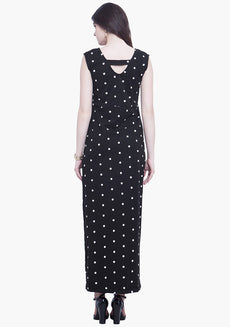 Crossed Out Maxi Dress - Polka