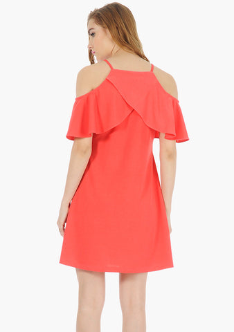 FABALLEY Ruffle Sleeve Cold Sh. Dress- Coral - VS FASHIONS