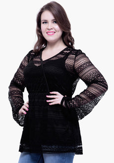 CURVE Overlap Bodice Lace Top - Black