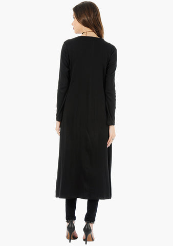 FABALLEY Longline Drape Shrug - Black - VS FASHIONS