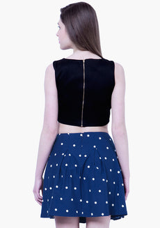 BASICS Dotted Skater Mini Skirt - Blue