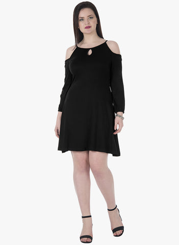 CURVE Keyhole Cold Shoulder Dress - Black