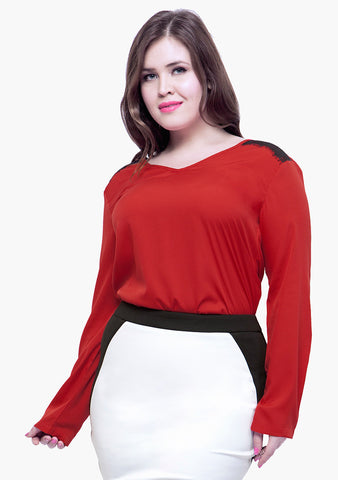 CURVE Lace Trance Blouse - Red - VS FASHIONS