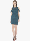 Drop Shoulder Lace Bodycon Dress - Teal - VS FASHIONS