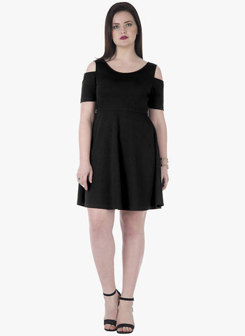 CURVE Cold Shoulder Skater Dress - Black - VS FASHIONS