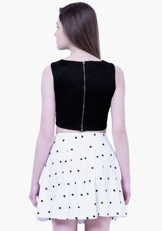 BASICS Polka Dotted Skater Mini Skirt - White