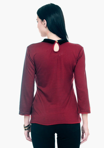 FABALLEY Peter Pan Sweater - Oxblood