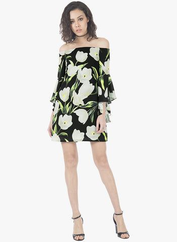 Flutter Sleeve Dress - Black Floral - VS FASHIONS