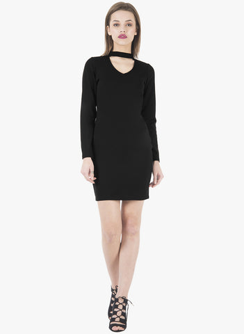 Choker Bodycon Dress - Black - VS FASHIONS