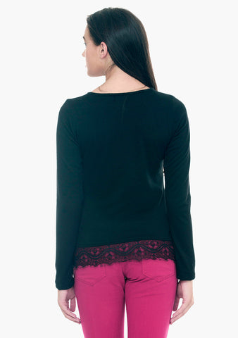 FABALLEY Lace Hem Sweater - Black - VS FASHIONS