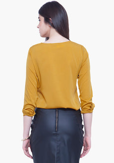 Pleat Please Blouse - Mustard