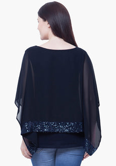 CURVE SEQUIN PONCHO TOP - NAVY