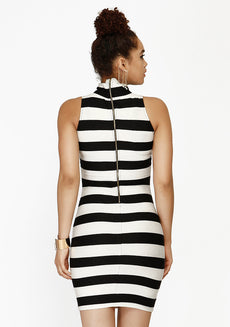 High On Bodycon Dress - Stripes