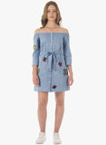 Denim Badge Off Shoulder Dress - VS FASHIONS
