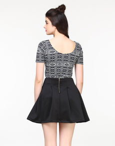 Peppy Scuba Skater Skirt - Black Mini Skirt