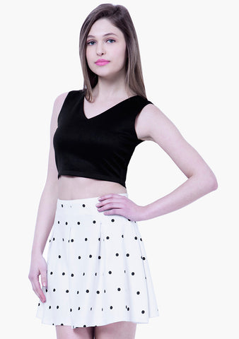 BASICS Polka Dotted Skater Mini Skirt - White - VS FASHIONS