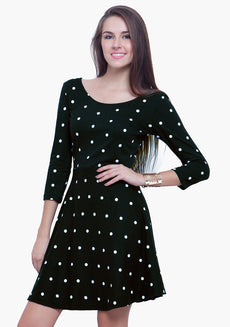 Fall Flare Skater Dress - Polka
