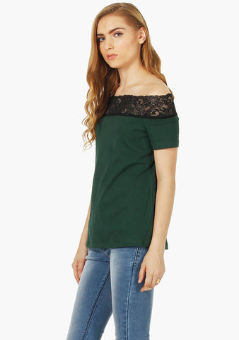 FABALLEY Stretch Lace Offshoulder Top- Deep Green Jersey