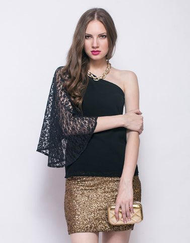 Sassy Side Top - Black - VS FASHIONS