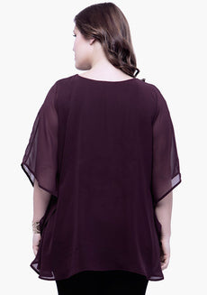 CURVE Sequin Stash Poncho Top - Wine