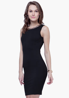 Gold Chain Bodycon Dress - Black