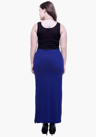 CURVE Free Flare Slit Maxi Skirt - Navy - VS FASHIONS