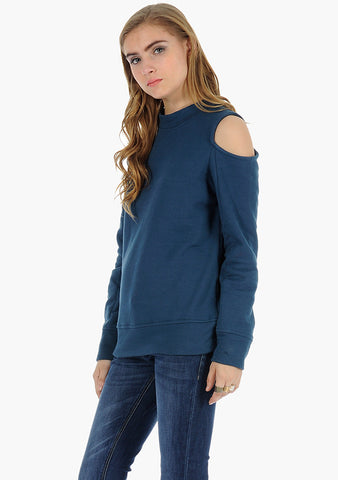 FABALLEY Cold Shoulder Sweatshirt - Blue - VS FASHIONS