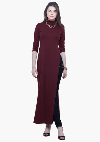 FABALLEY Turtle Neck Maxi Top - Oxblood - VS FASHIONS