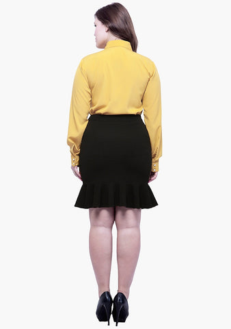 CURVE Fluted Mini Skirt - Black - VS FASHIONS