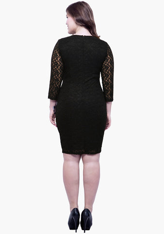 CURVE Lace Love Bodycon Dress - Black - VS FASHIONS